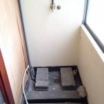 サンルーム内にある洗濯機置き場